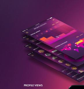 【演界信息图表】紫色ios风-风格时髦的侧面视图