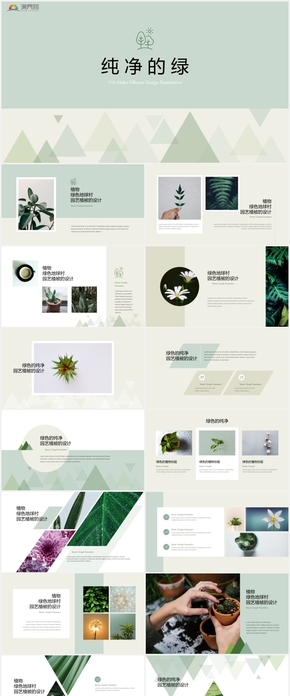 纯粹的绿——清新简约唯美PPT模版