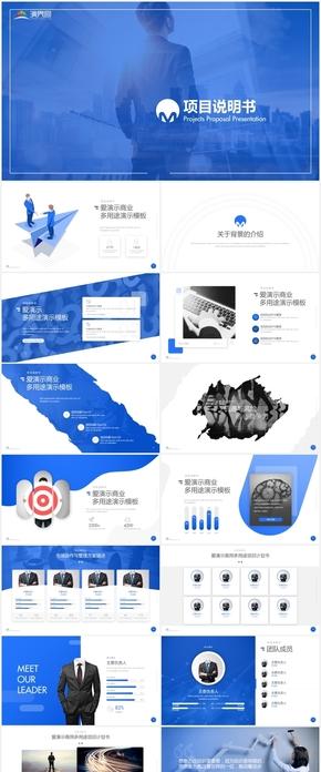 大气蓝色商务风公司企划项目说明书PPT模版