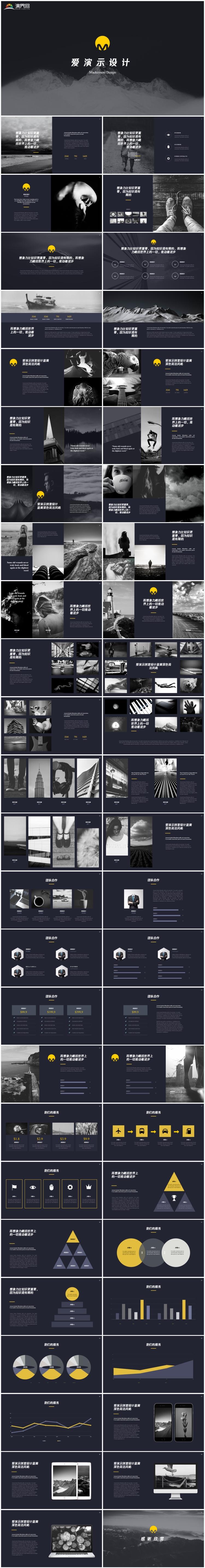 深色系创意设计简约唯美公司介绍PPT模版