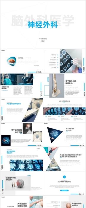 脑科脑外科神经科医学医疗研究PPT模版