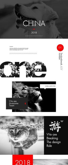 黑红创意多用途keynote模板