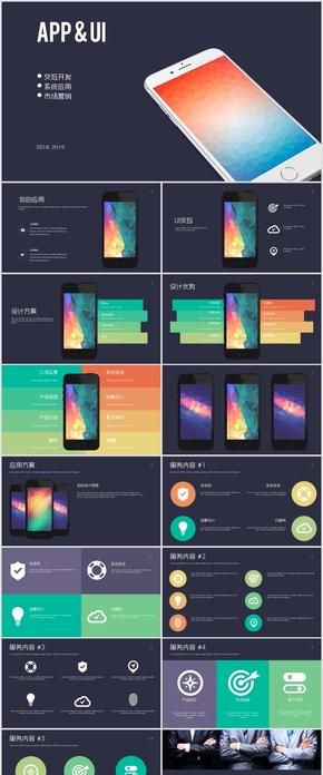 APP手机应用ui交互产品开发介绍PPT模板