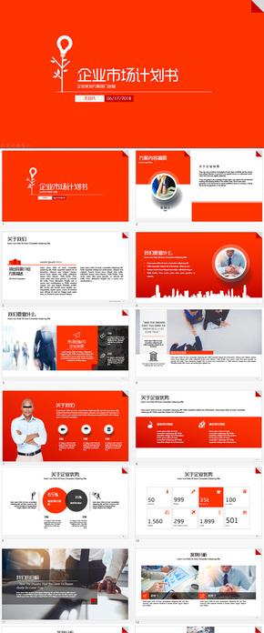 红色经典市场商业计划书ppt模板