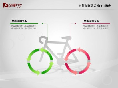 共享单车剪贴画-自行车联动关系PPT图表