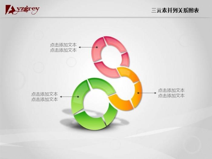三元素并列关系ppt图表,灰师太演示新(心)语,用心设计,只为更懂演示的