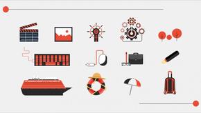 网页元素扁平图标-黑红系列1