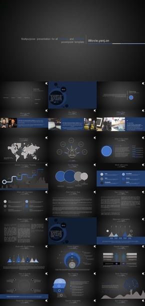 蓝黑 欧美风 商务PPT 动态模板 数据颜色可编辑