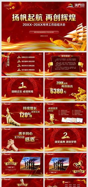 喜庆红色金色热烈大气年终总结颁奖典礼晚会年会PPT模板
