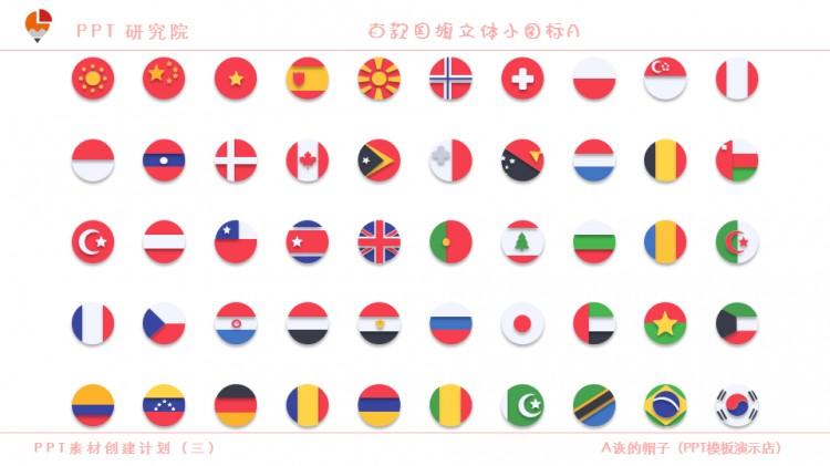 ppt素材创建计划(三)百款国旗立体小图标