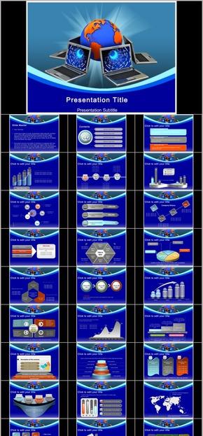 【演界网独家PPT】在线测试PPT模板-欧美深蓝色商务大气立体风格PPT