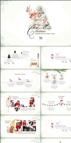 [一茶演示]水彩复古圣诞PPT模板