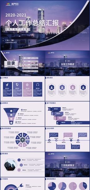 高端紫色地产行业个人工作总结汇报
