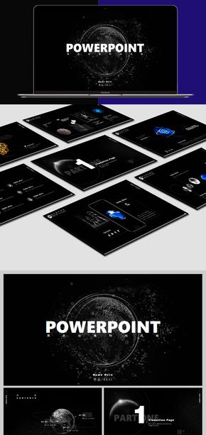 黑色经典系列通用商务PPT模板-胭色设计