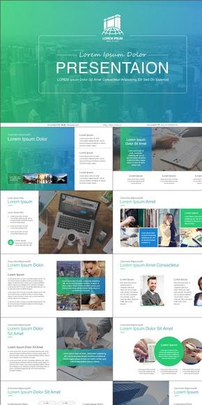 蓝绿IOS风格工作汇报模板