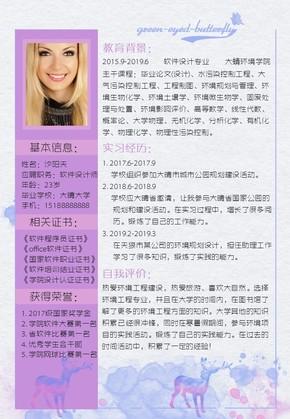 时尚紫红色竞聘软件设计师简历