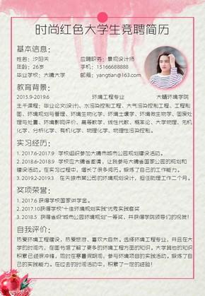 时尚红色大学生竞聘简历