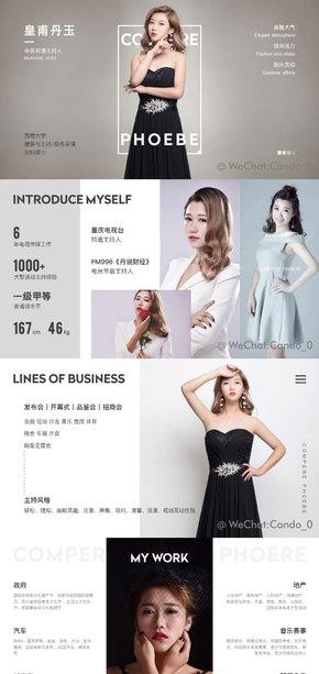 时尚杂志风格主持人个人简历形象展示PPT