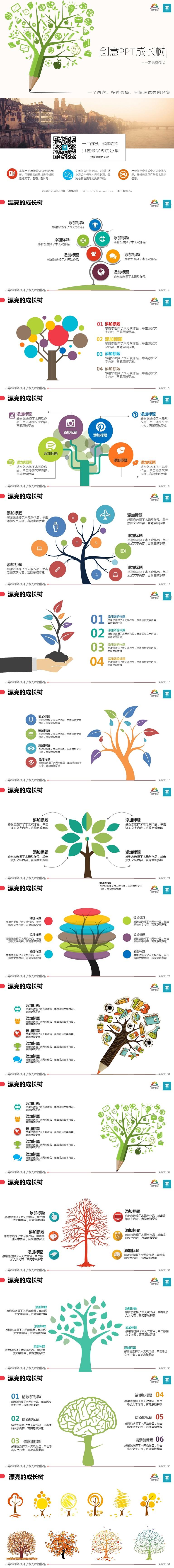 【合集06】创意PPT成长树50页 前50名限时2折