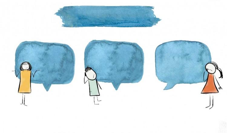 蓝色水墨风手绘人物-背景素材图-透明底