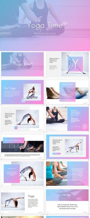 瑜伽健美减肥健身馆瑜伽运动keynote模板