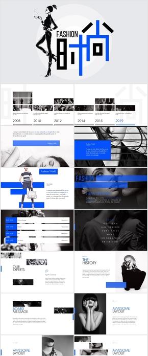 简约蓝色高端大气时尚服装活动营销策划创意keynote模板