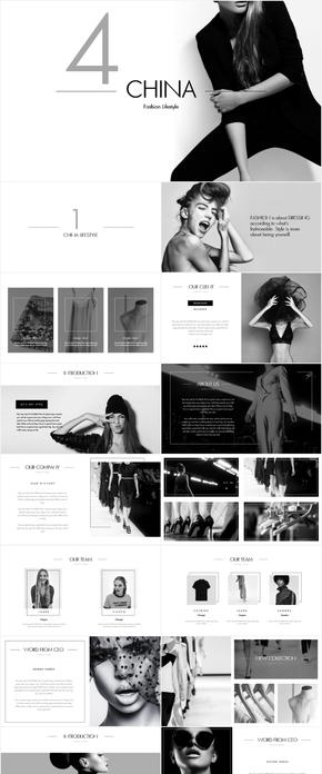 黑白简约时尚服装服饰品牌文案宣传策划PPT模版