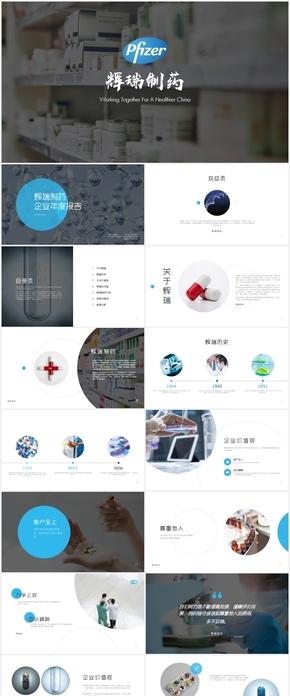 辉瑞制药公司企业简介发展介绍年度报告PPT模版
