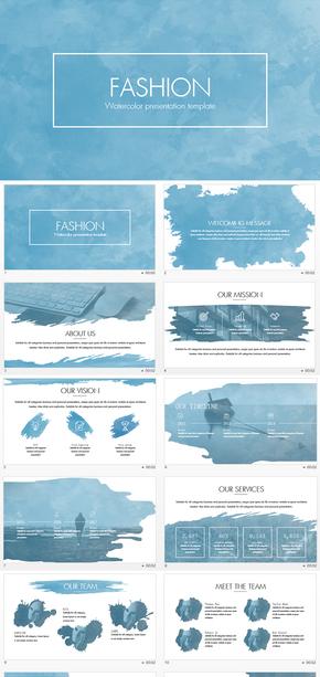 水彩水墨时尚企业文化keynote模板