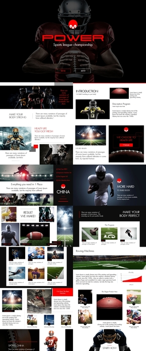 动感橄榄球体育运动比赛策划PPT模版