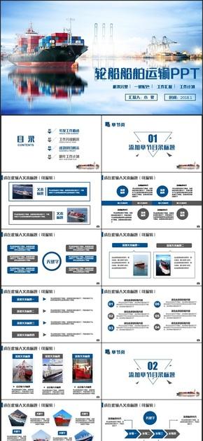 蓝色框架完整轮船船舶运输海运海淘物流集装箱码头PPT