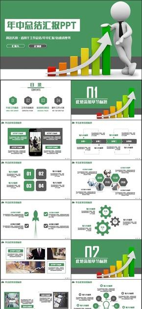 【总结】绿色简约年终总结业绩汇报述职金融财务报告PPT