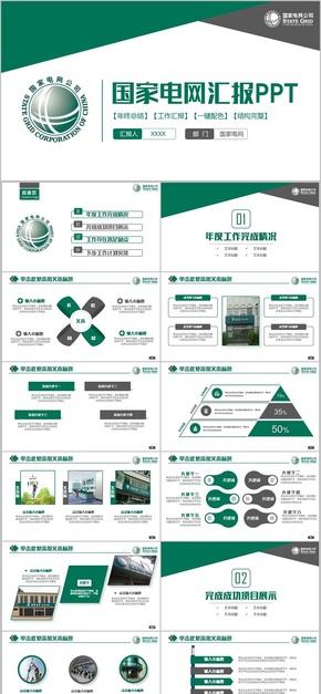 【国家电网】简约绿色国家电网电力公司PPT