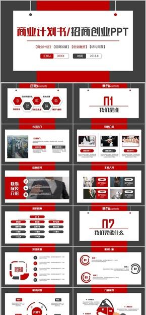【商业计划书】创意红蓝商业计划书商业创业融资招商加盟项目推介商业计划书PPT