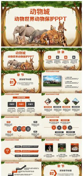 精美动物世界动物介绍保护动物PPT