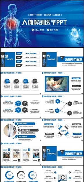 【医疗医学】蓝色动感人体解剖骨骼研究外科医学医疗PPT