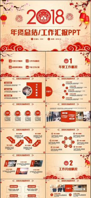 【狗年工作汇报】中国风工作总结年终总结2018工作计划述职PPT