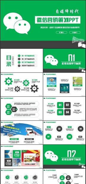 【IT行业】绿色动感IT科技微信公众号自媒体微信营销PPT