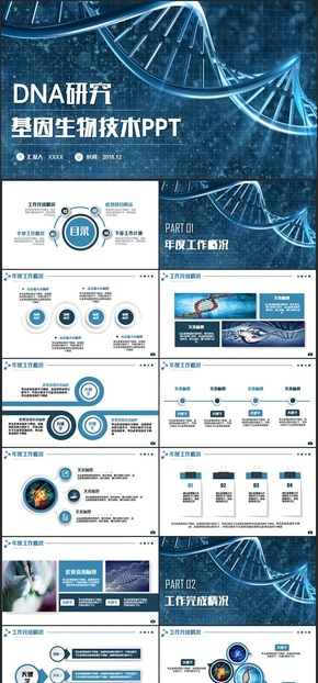 【医疗模板】简洁医疗汇报DNA基因生物科技医学病毒细胞研究PPT