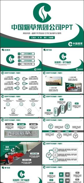 绿色动感中国烟草公司烟草局PPT
