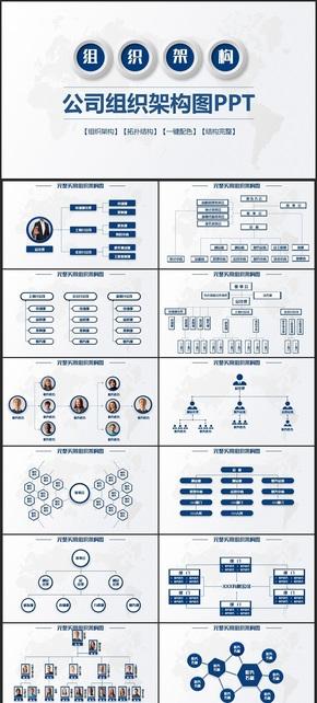沉稳商务风公司企业组织架构图组织结构图企业介绍PPT