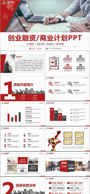 红色商业计划书创业融资招商加盟项目推介商业计划书PPT