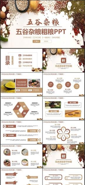 【五谷杂粮】简约粮食粗粮健康食品五谷杂粮有机食物PPT