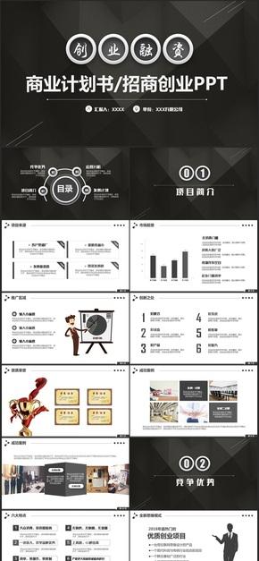 【商业计划书】黑白商业计划书招商加盟商业创业融资PPT