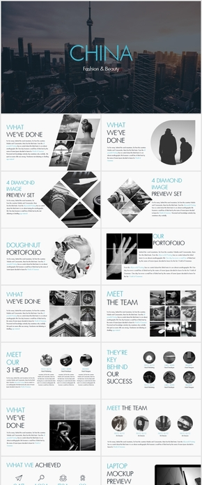欧美风蓝色个性创意公司策划宣传ppt模板