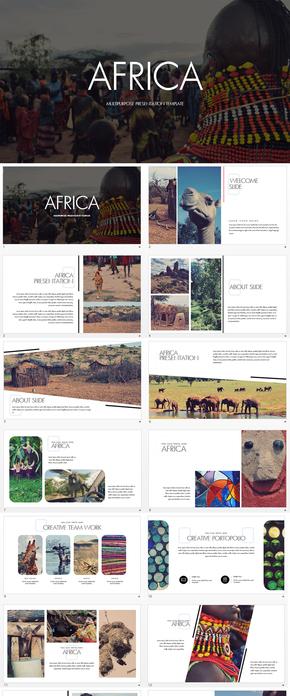非洲风土人情旅游keynote模板