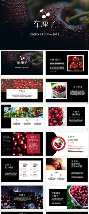 车厘子樱桃水果商业贸易广告PPT模板