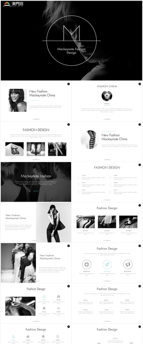 創意黑白設計藝術唯美商務通用keynote模版