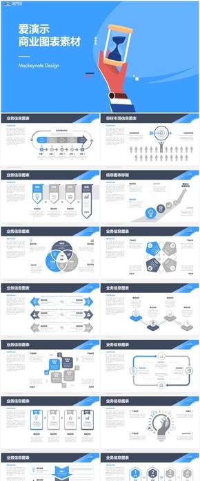 蓝色商务图表类总结计划工作汇报通用PPT模板