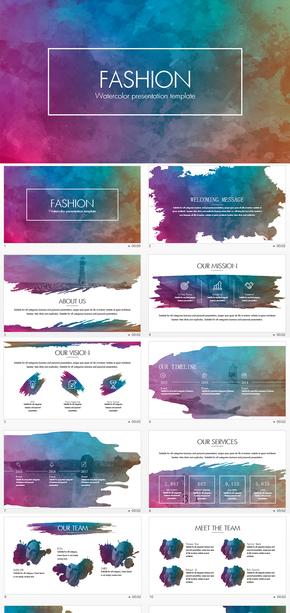 多色彩水墨风格商务通用PPT模板
